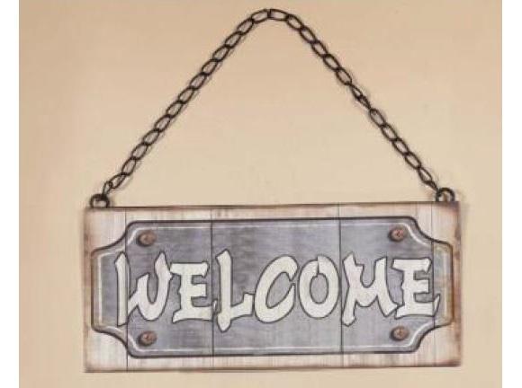 Cartel o placa de bienvenida