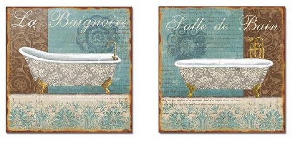 Imagenes De Baño Vintage:Cuadros Decorativos Para Banos