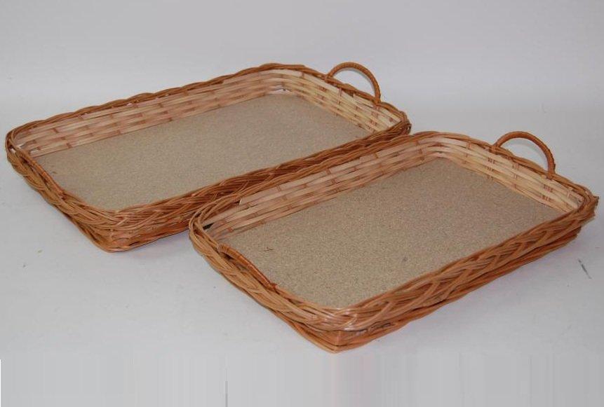 Comprar bandeja de mimbre y madera s 50x35x6 cm bp - Bandeja de madera ...