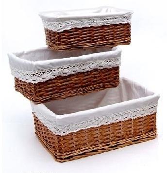 Comprar canasta de mimbre blanco forrado con asas - Decorar cestas de mimbre paso a paso ...
