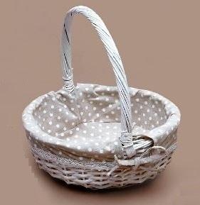 cesta de mimbre forrada canastilla