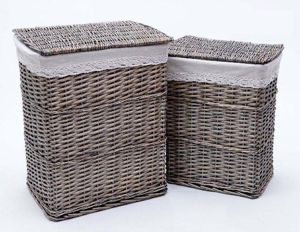 Comprar cesta para la ropa sucia mimbre blanco con - Cesta ropa sucia ...