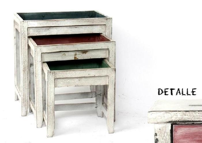 Comprar mesa auxiliar vintage envejecida cm mb 92381 2 en birdikus tienda online - Mueble rustico colonial ...