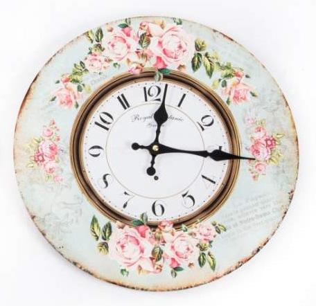 Comprar reloj de pared vintage rosas 34 cm re 117197 2 - Relojes decorativos de pared ...
