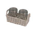 Glass Jar on wicker tray